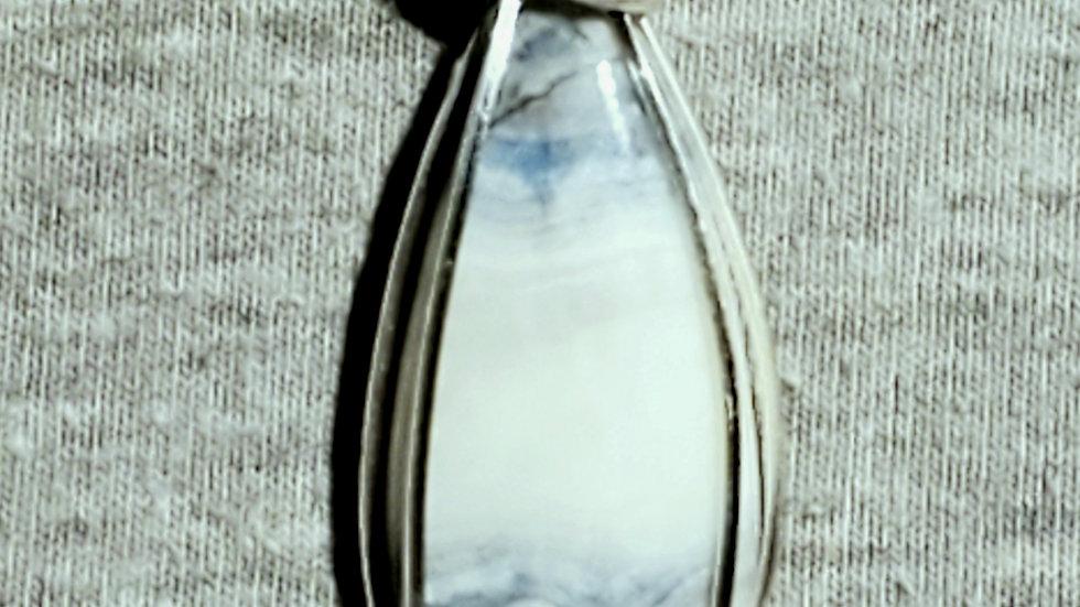 Blue Scheelite Wrapped in Silver Wire
