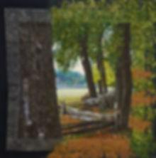 Norfolk Fence, fiber collage, 25 x 25, $