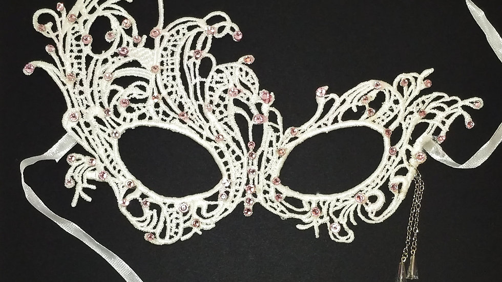 White Lace Mask With Pink Rhinestones