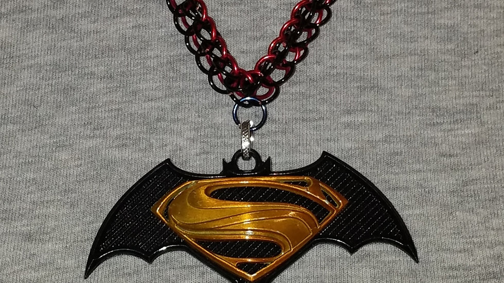 Batman VS Superman Pendant on Red & Blue Chainmail