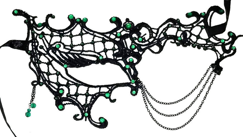 Black Lace Mask With Green Rhinestones