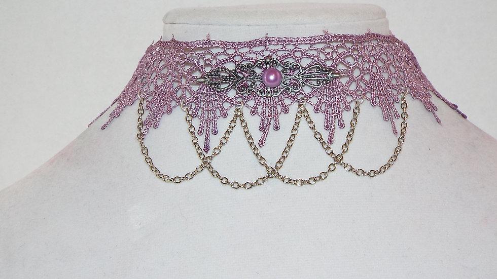 Lace & Chain Purple Choker