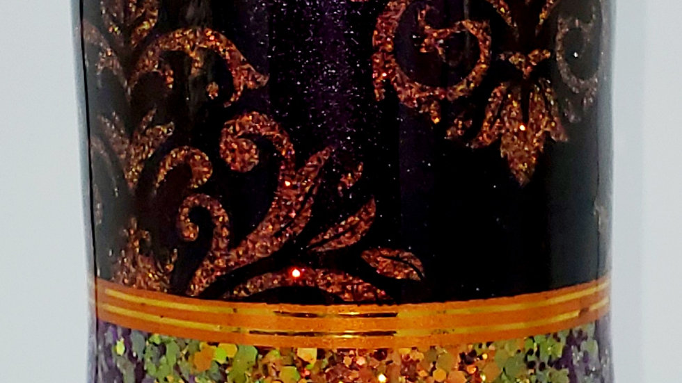 30 oz. Color shifting Red, Orange, Gold, Purple Skull Damask Double Walled Stain
