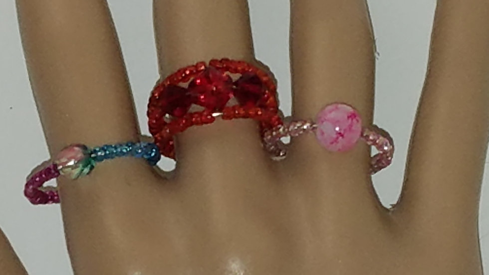 One Size Fits Most Memory Wire Ring Set Multi Color