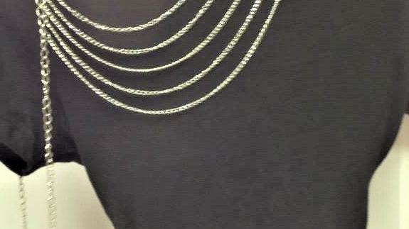 Silver Drape Shoulder Body Chain