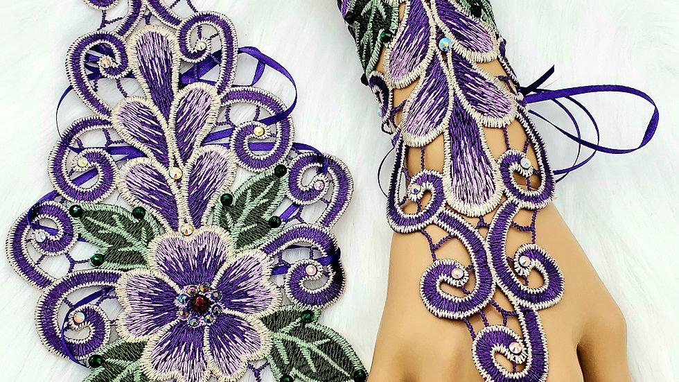 Purple lace gauntlets