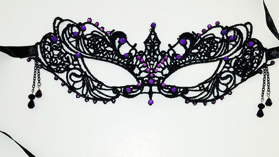 Black Lace Mask With Purple Rhinestones