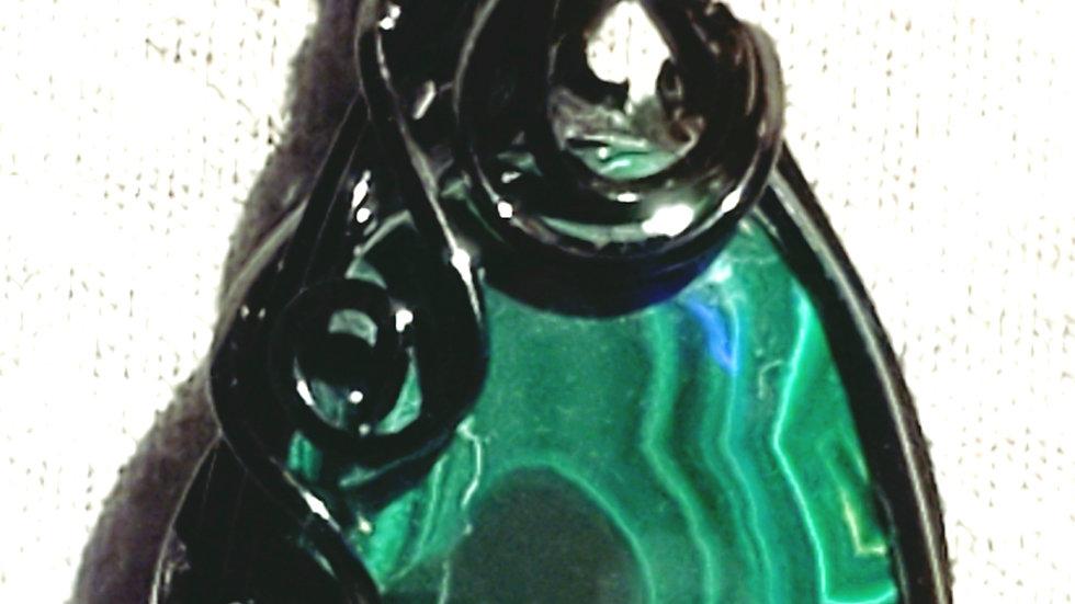 Malachite Wrapped in Black Wire