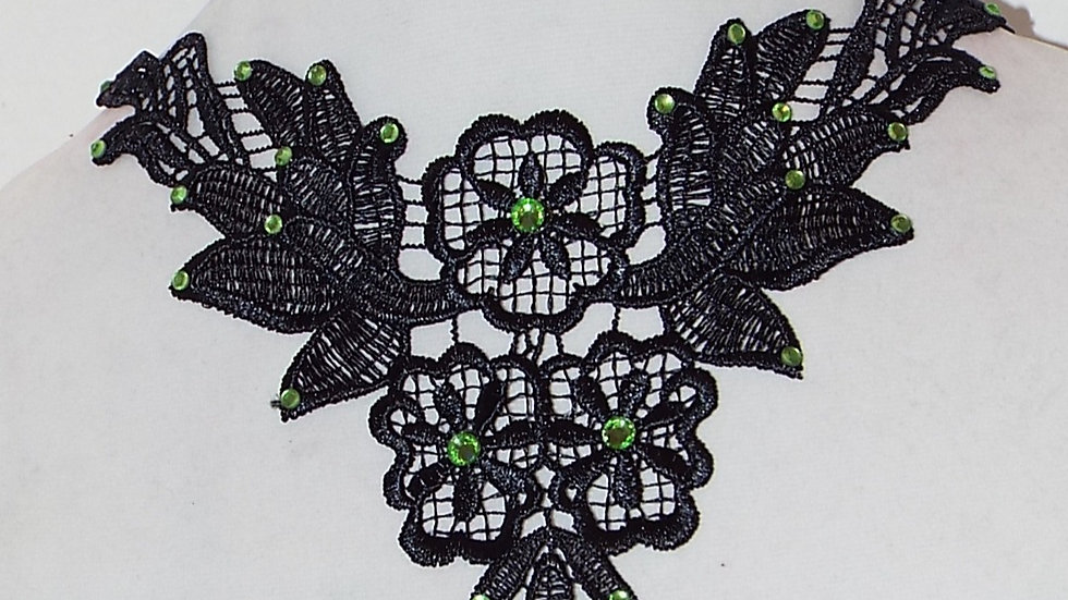 Black Lace Necklace With Green Rhinestones and Oval Drop Pendant
