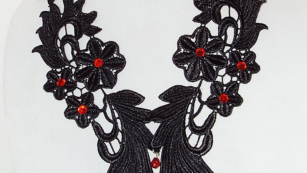 Black Lace Necklace With Cross Pendant & Red Stones