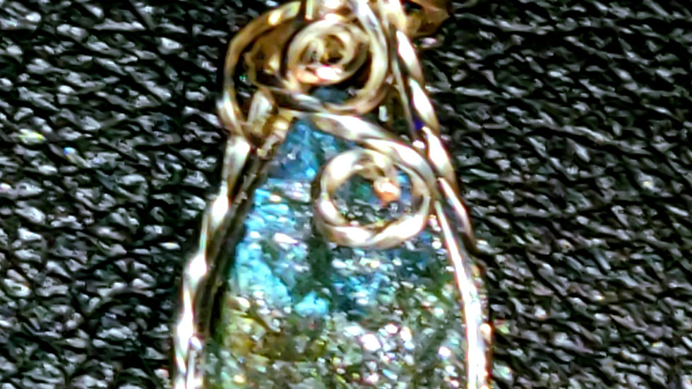 Multifire Labradorite Wrapped in Silver Wire