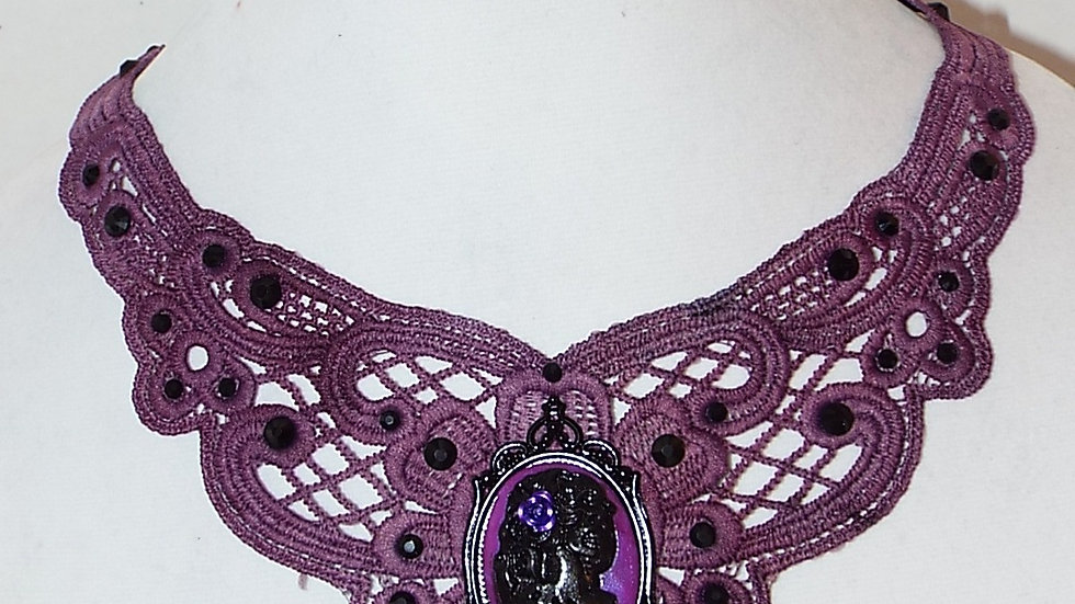 Dyed Purple Lace Necklace with Skull Girl Cabochon and Black Rhinestones