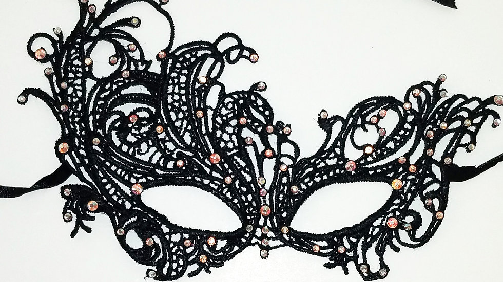 Black Lace Mask With Iridescent Color Shift Rhinestones