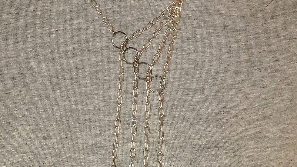Asymmetrical Hearts Necklace With Silver Chain