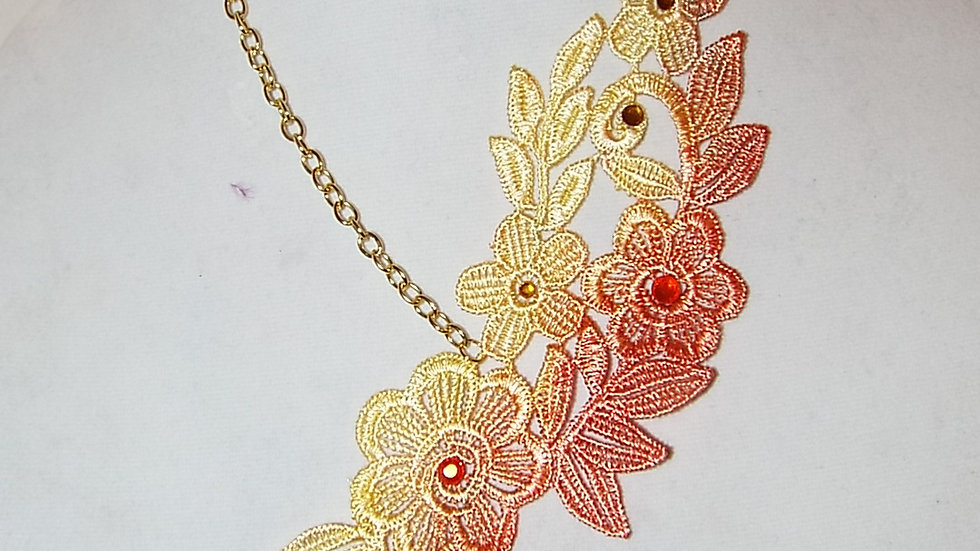 Asymmetrical Ombre Dyed Yellow & Red Lace Necklace With Matching Rhinestones