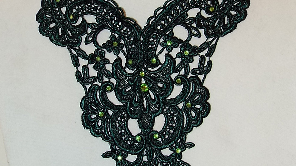 Green Lace Necklace with Green Stones & Pendant