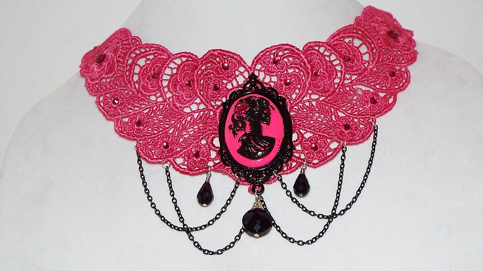 Dyed Hot Pink Lace Necklace with Skull Girl Cabochon, Black Chain & Pendants