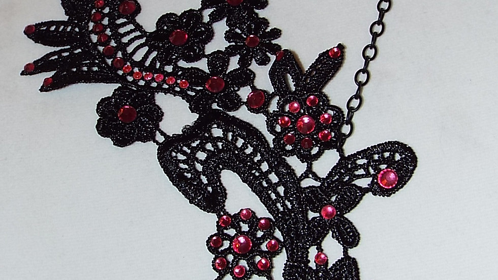 Asymmetrical Black Lace Necklace with Pink Rhinestones& Black Chain