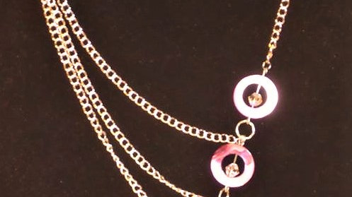 Asymmetrical Pink Natural Stone & Pink Bead Necklace With Silver Chain