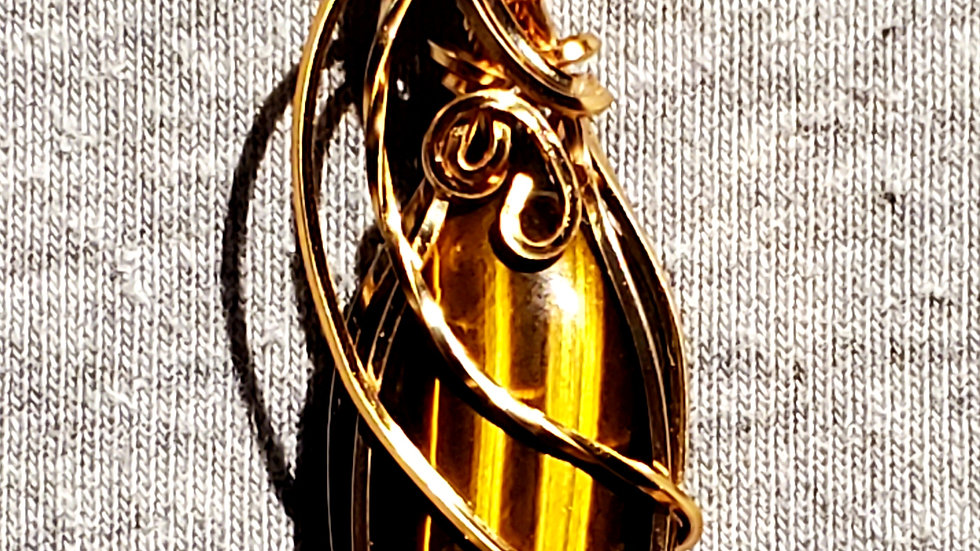 Tiger Eye Wrapped in Gold Wire