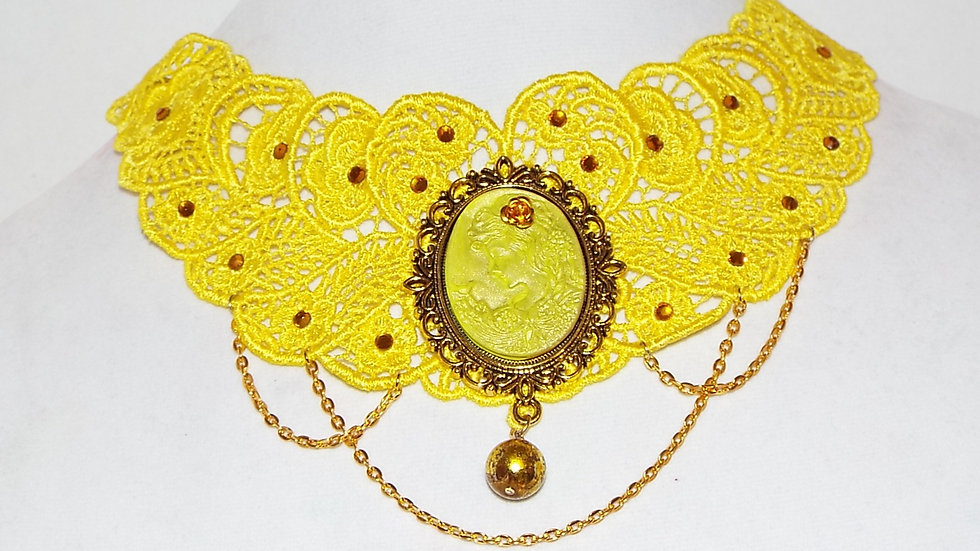 Dyed Yellow Lace Necklace with Yellow Cabochon and Gold Chain