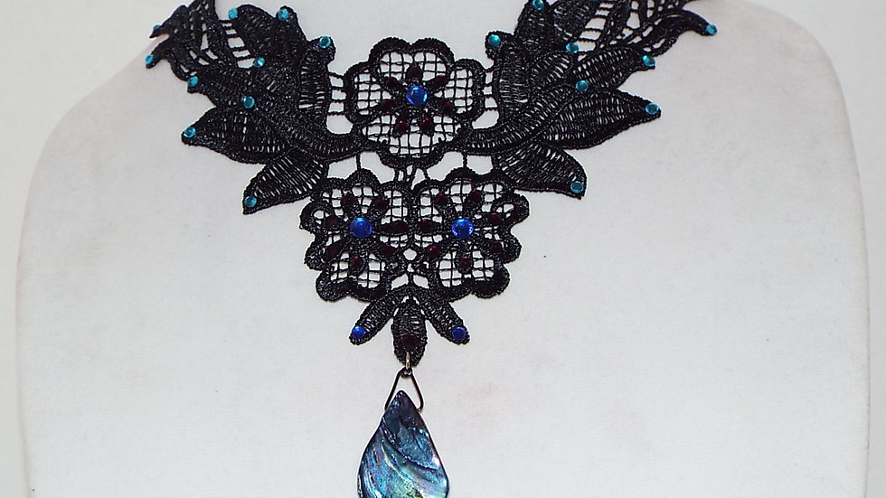 Black Lace Necklace With Blue Rhinestones and Abalone Shell Pendant