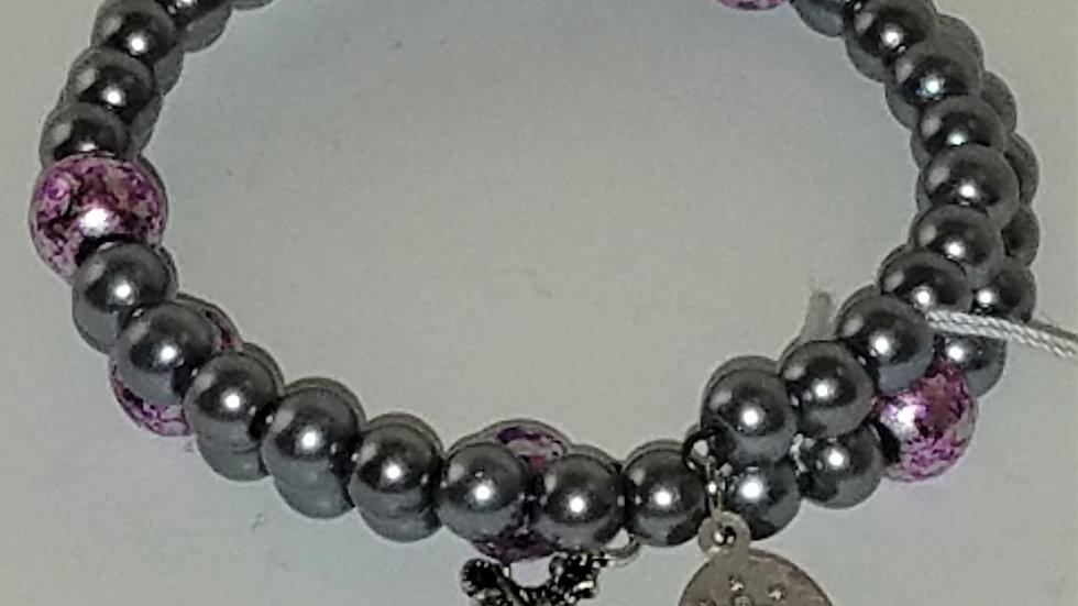 Pewter & Purple Beaded Rosary Bracelet