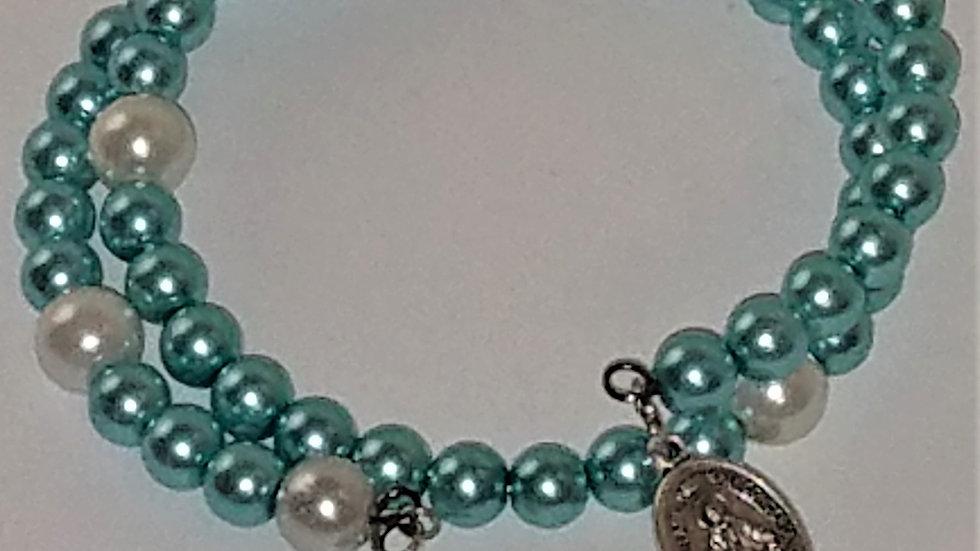 Teal & White Beaded Rosary Bracelet