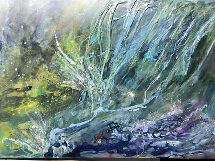 "In the Waterfall | 24"" x 36"" | Acrylic Mixed Media"
