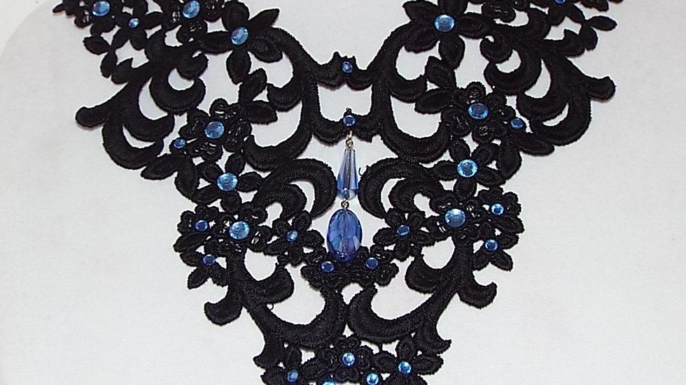 Black Lace Necklace With Light Blue Rhinestones & Drop Pendants