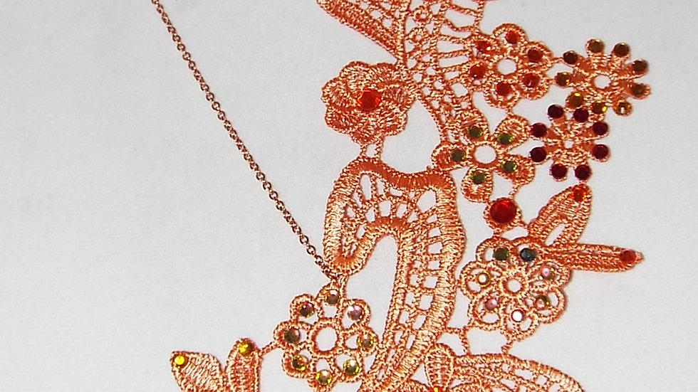 Asymmetrical Dyed Orange Lace Necklace