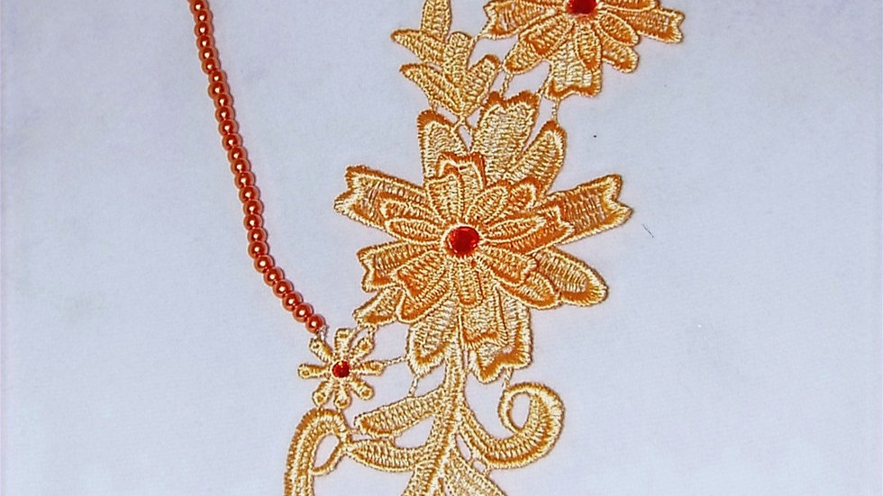Asymmetrical Dyed Orange Lace Necklace With Orange Stones & Orange Beaded Chain