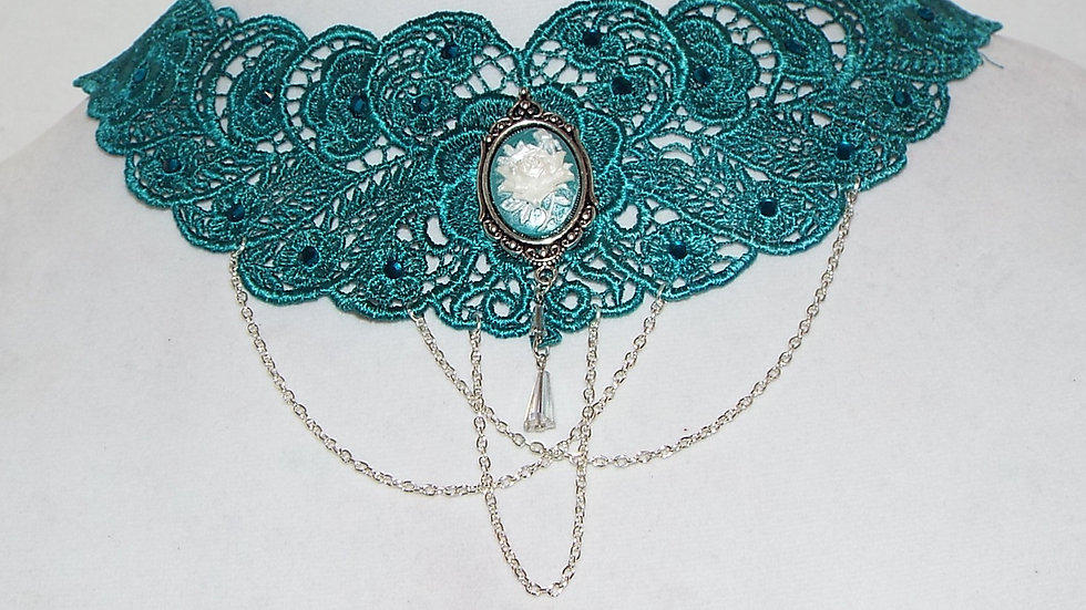 Dyed Teal Lace Necklace with Teal & White Rose Cabochon and Silver Chain