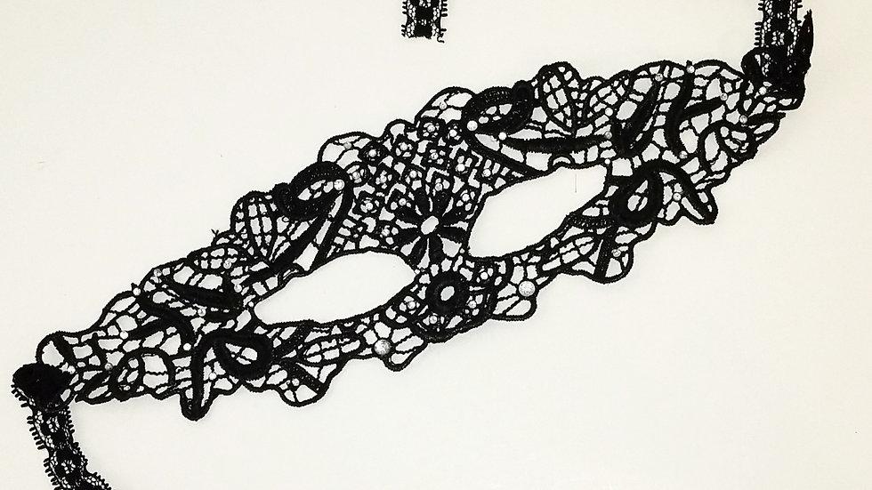 Black Lace Mask With Cubic Zirconia Rhinestones