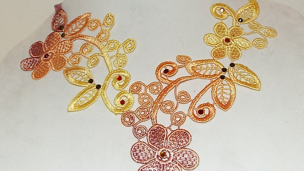 Ombre Dyed Red-Yellow-Orange Lace Necklace with Matching Rhinestones