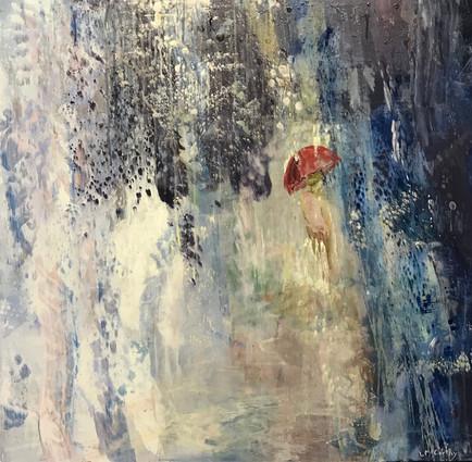 "Red Umbrella | 36"" x 36"" | Acrylic on Canvas"