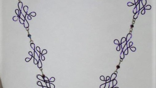 Purple Wire Shaped Necklace, Butterfly Pendant With Matching Bracelet & Earrings