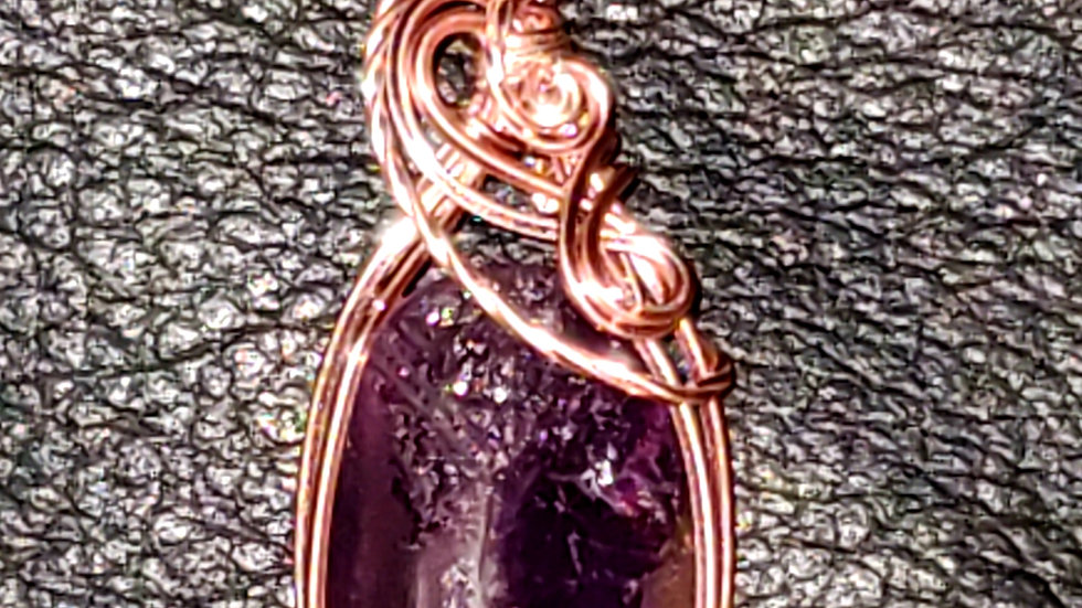 Druzy Amethyst Wrapped in Rose Gold Wire