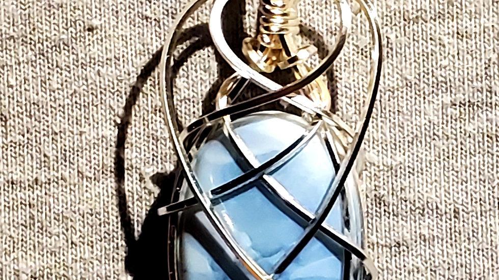 Owyhee Blue Opal Wrapped in Silver Wire