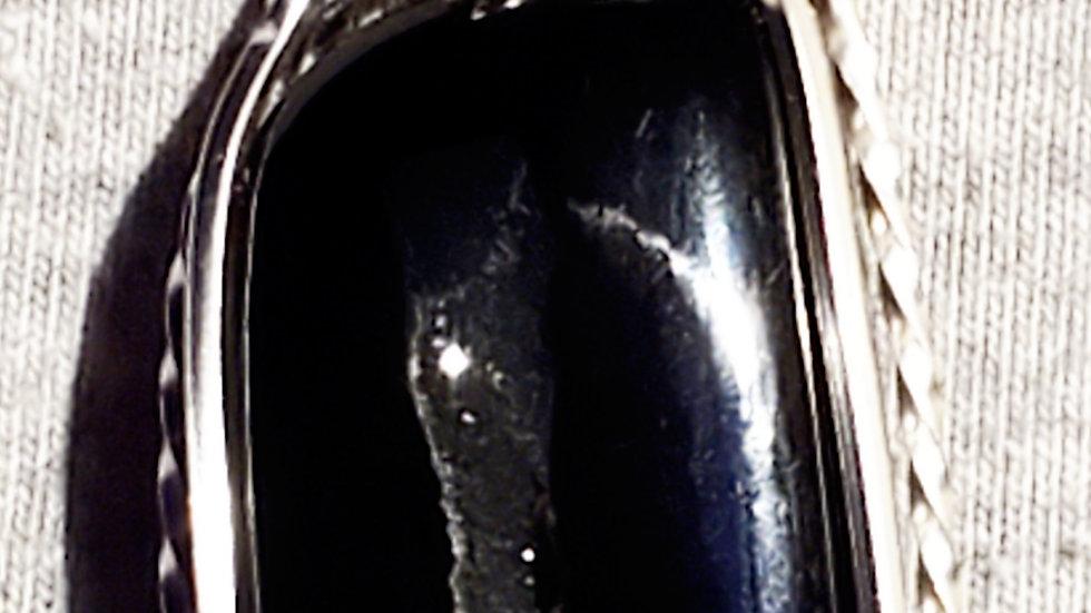 Black Onyx Druzy Geode Wrapped in Silver Wire
