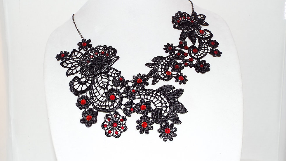 Asymmetrical Black Lace Necklace With Red Rhinestones & Black Chain