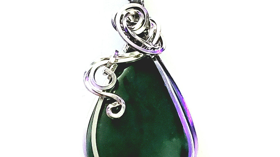 Green Moss Agate Wrapped in Titanium Wire