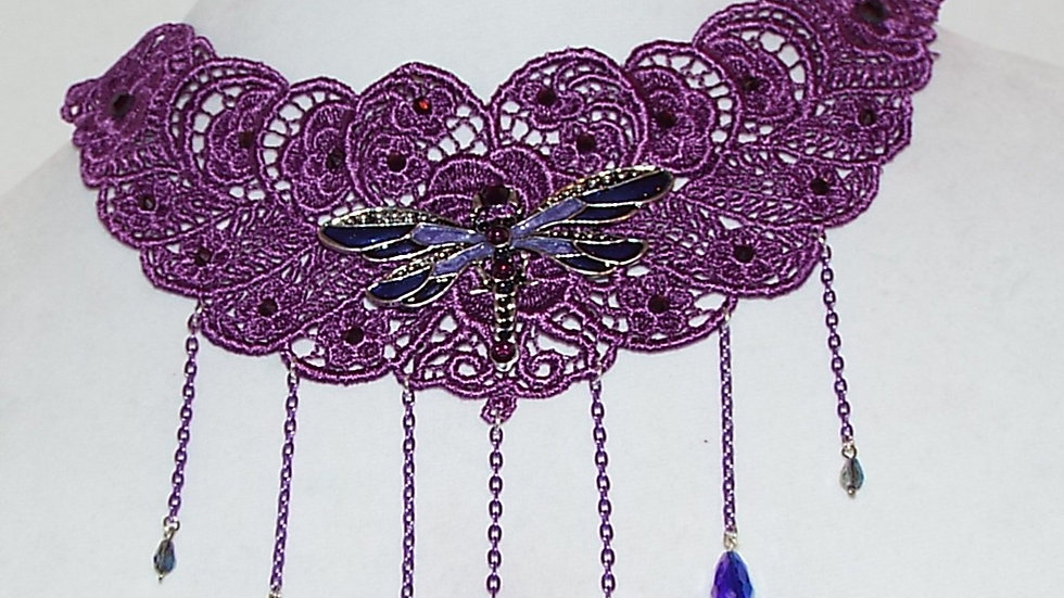Dyed Purple Lace Necklace with Dragonfly Cabochon, Purple Chain & Tear Drops