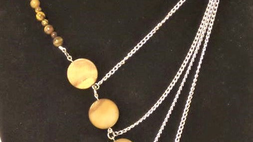 Asymmetrical Necklace With Tan Natural Stones
