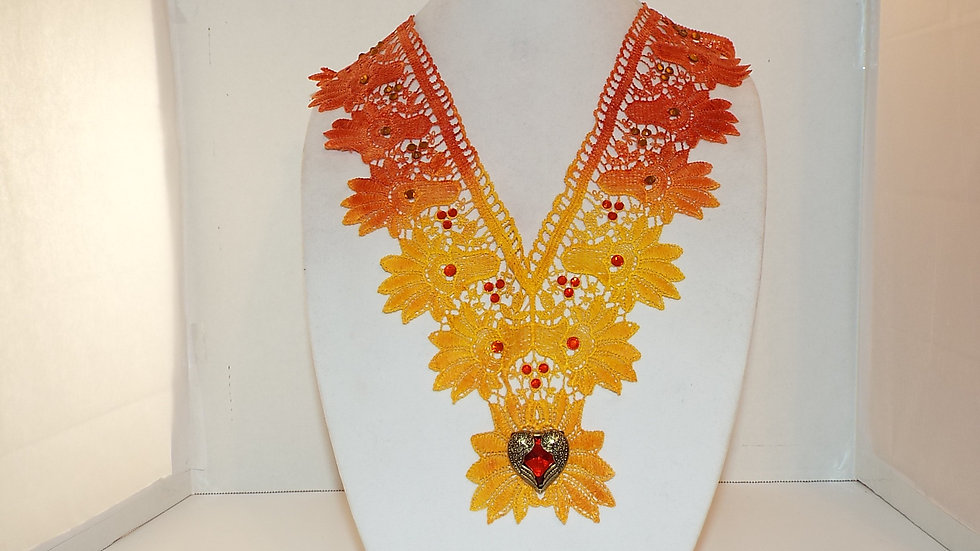 Large Dyed Lace Necklace
