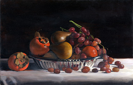 Silver Bowl with Fruits