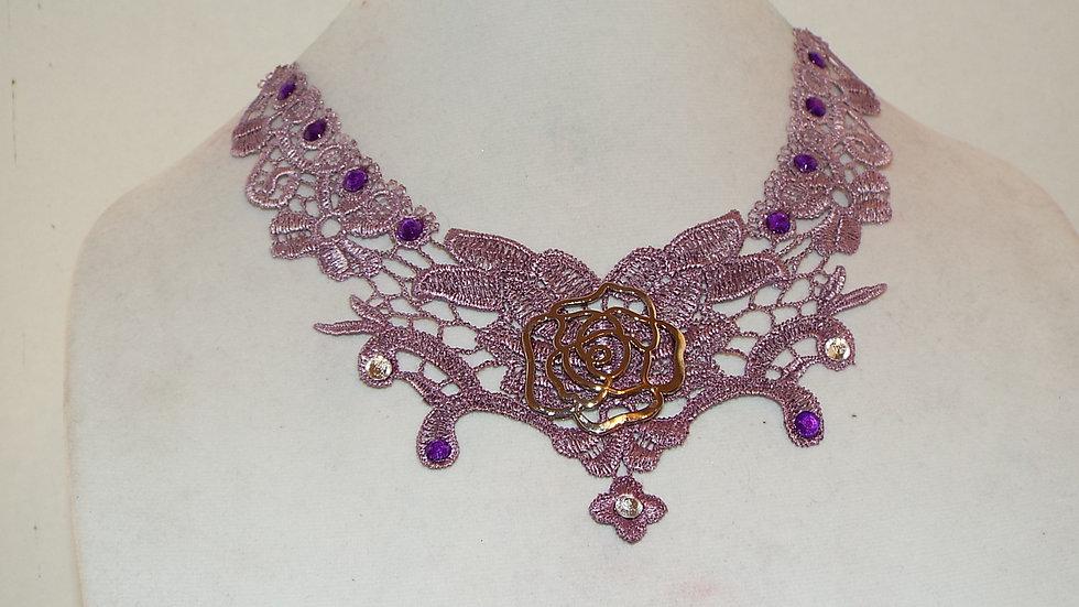 Purple Lace & Rose Charm Necklace