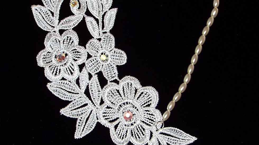 Asymmetrical White Lace Necklace With AB Rhinestones & White Beaded Chain