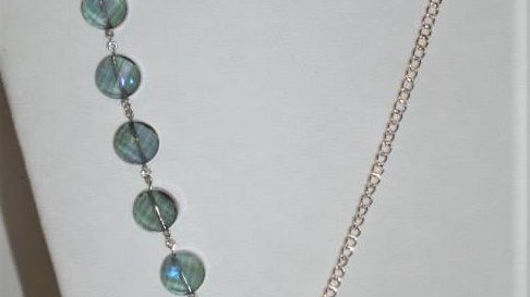 Asymmetrical Iridescent Beaded Necklace With a Silver Chain & Matching Earrings