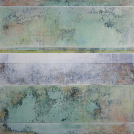 """Uncovering Contentment   36"""" x 36""""   Mixed Media on Wood"""
